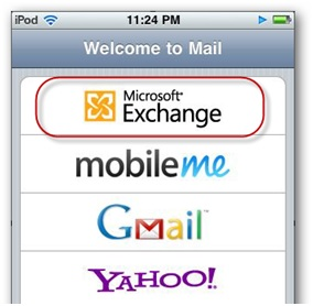 Sync iPhone Contacts - Select Microsoft Exchange