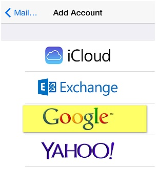 Sync iPhone Contacts - Select Google Exchange