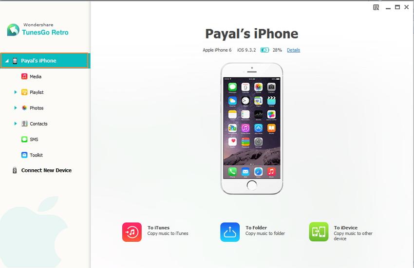 manage iPhone Photos using TunesGo Retro