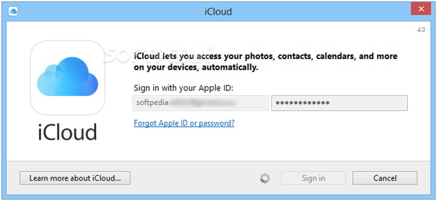 Sync iPhone Photos to PC - Log in iCloud