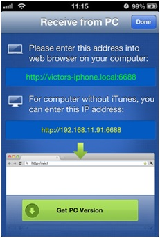 transfer photos from computer to iPhone without itune-press the receive button