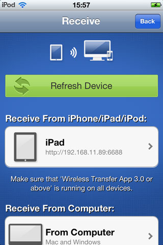 Transfer Photos from iPad to iPhone - using mobile app step 3-1