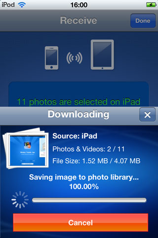 Transfer Photos from iPad to iPhone - using mobile app step 5