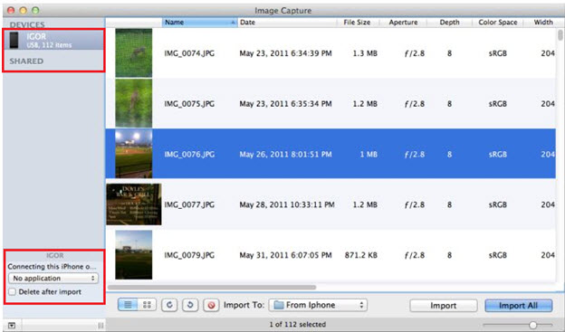 transfer photos from iphone to mac - Image Capture step 2