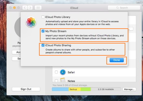 transfer photos from Mac to iPhone using iCloud Photo Sharing