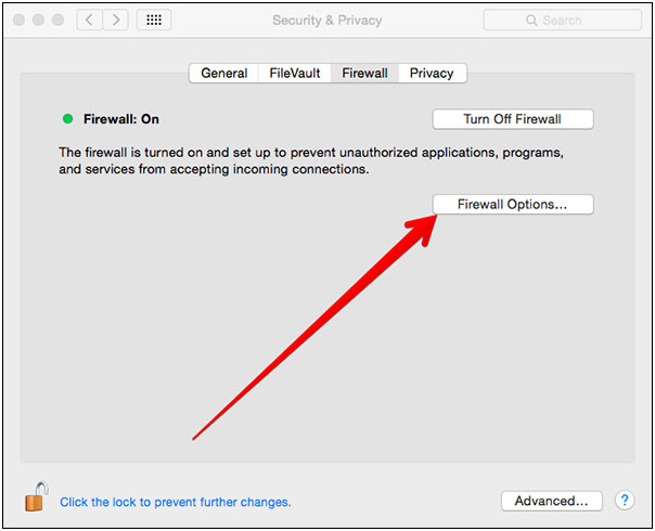 AirDrop iPhone to Mac - Select Firewall