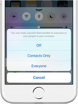 AirDrop iPhone to Mac - activated the Everyone option
