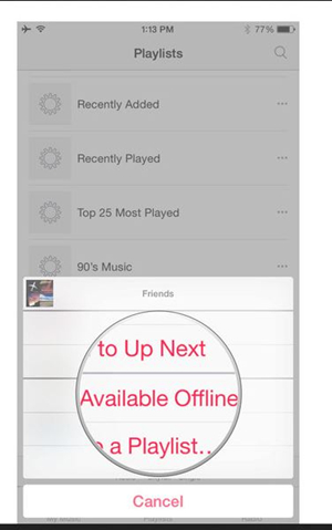 Manage Music on iPhone - Choose Make Available Offline