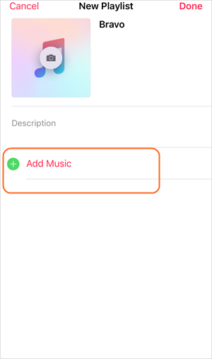 Create Playlist on iPhone - Tap Add Music
