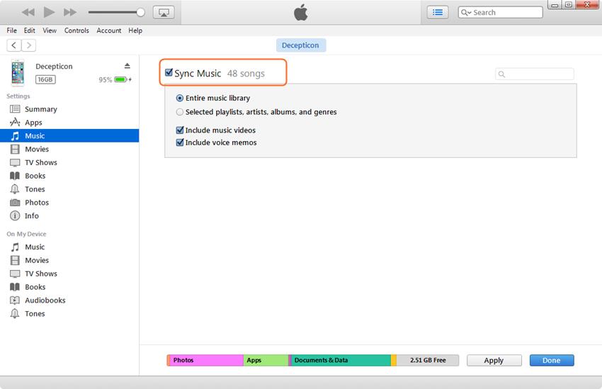 Bewerk afspeellijst - selecteer Sync Music