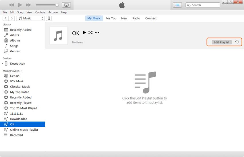 Editar lista de reprodução do iPhone - Clique em Editar botão da lista de reprodução