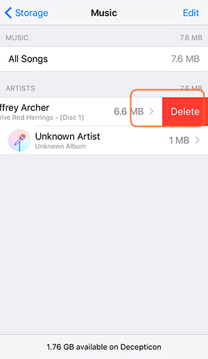 Free Up Space on iPhone - Delete Music