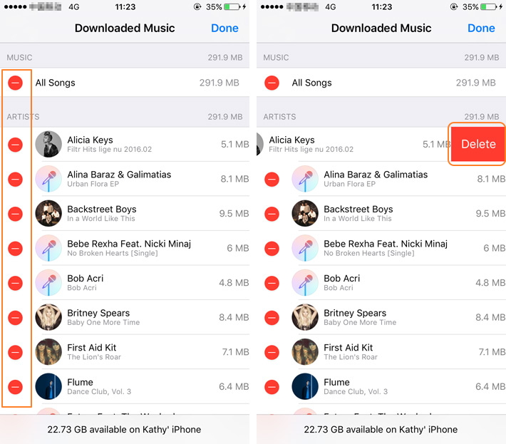 Delete Music from iOS 10 on Apple Devices
