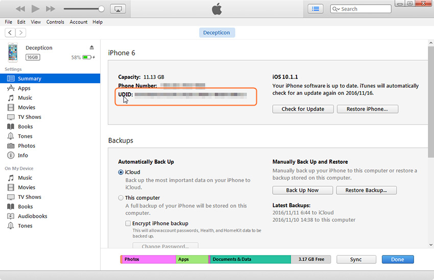 How to find UDID with iTunes-copy the identifier