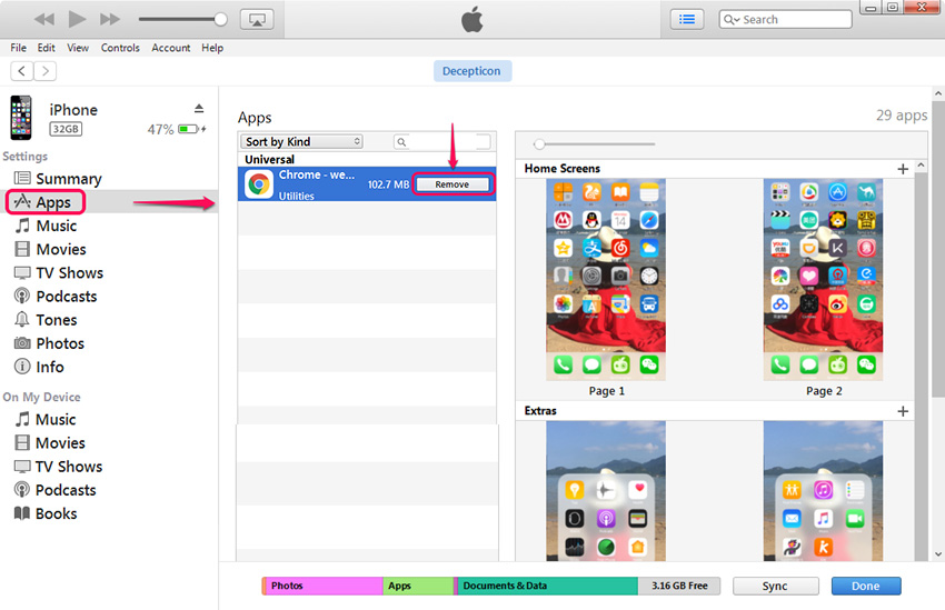 Clear up Space on iPhone - Remove Apps from iPhone