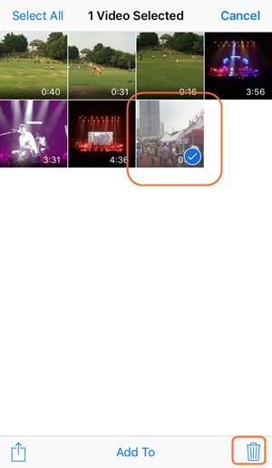 Verwijder video's van je iPhone - Selecteer video's om te wissen.