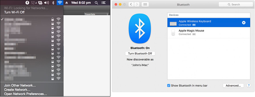 AirDrop iPhone to Mac - active Bluetooth