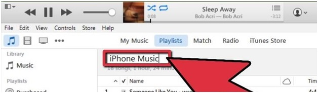 Sincronizza musica per iPhone-nominare nuova playlist