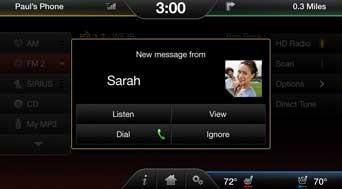 Ford Sync iPhone - Étape 1 de la réception de sms iPhone avec Ford Sync
