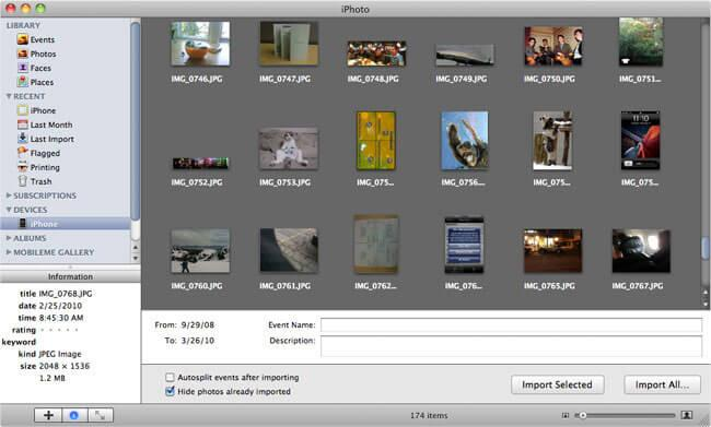 Use iPhoto to Transfer iPhone Camera Roll to Mac