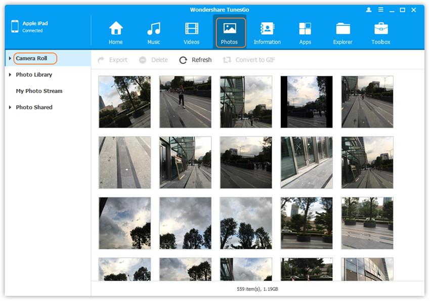 Les étapes pour transférer des photos vers le PC en utilisant TunesGo