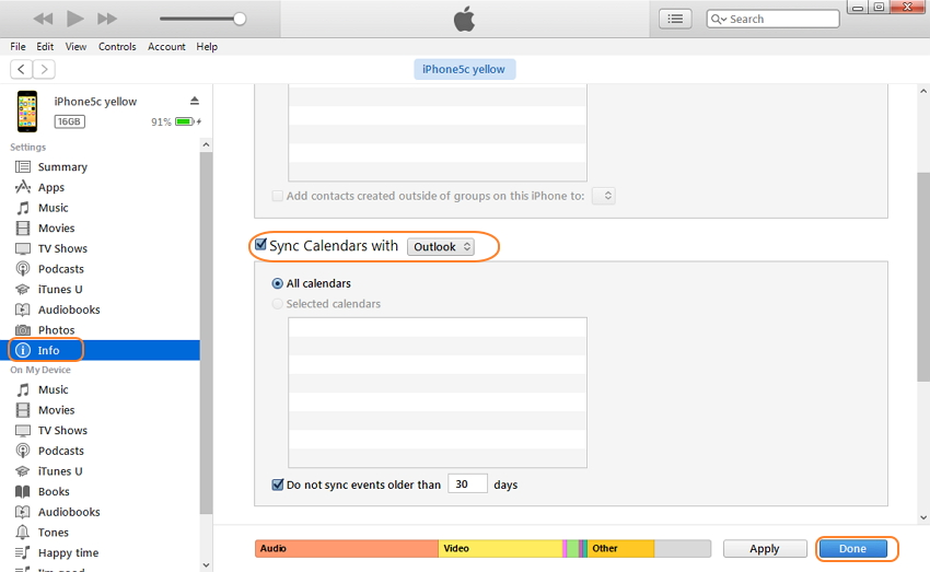 sync iCal with iphone - Step 3 for Sync iCal to iPhone using iTunes