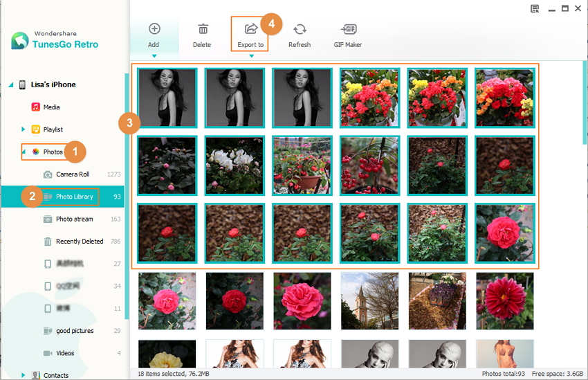 Transfer Photo Library from iPhone to Computer with TunesGo Retro