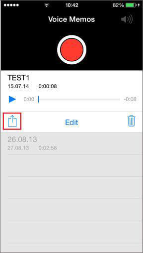 Transfer iPhone Voice Memos via Email/MMS
