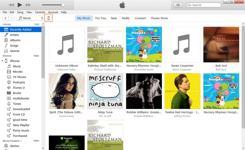 Transferencia de MP3 al iPhone vía iTunes