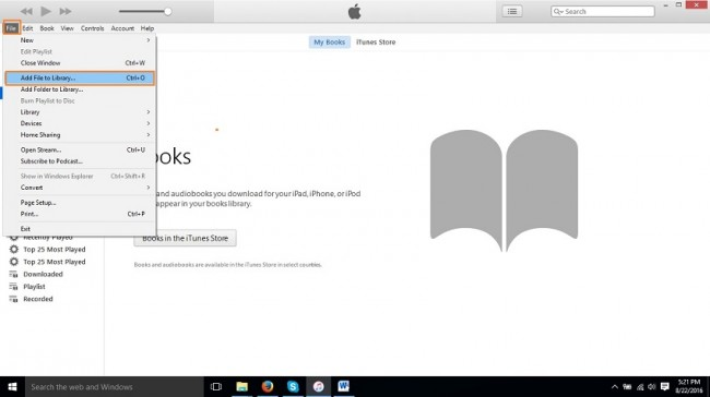 How to put audiobooks on iPod-Add file to Library option