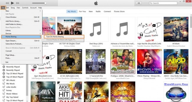 Stream music to ipod from PC-turn on Home Sharing