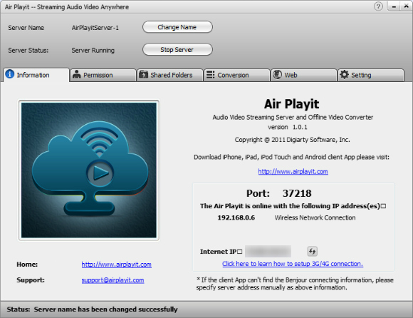 Stream music to ipod from PC-configure