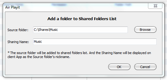Stream music to ipod from PC-add source folder