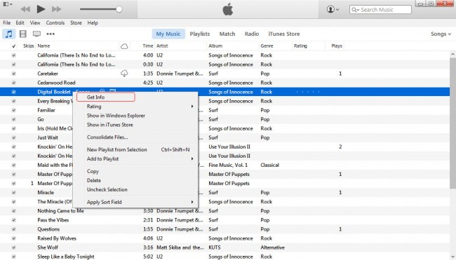How to add artwork to iPod- Get info