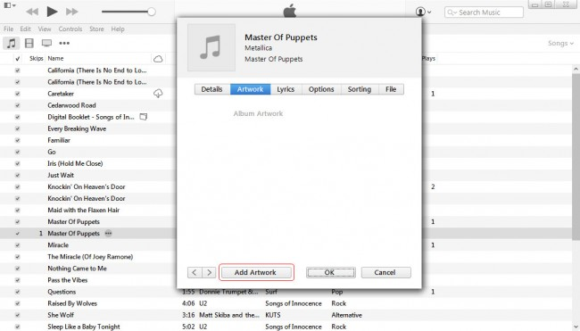 How to add artwork to iPod-Add artwork button