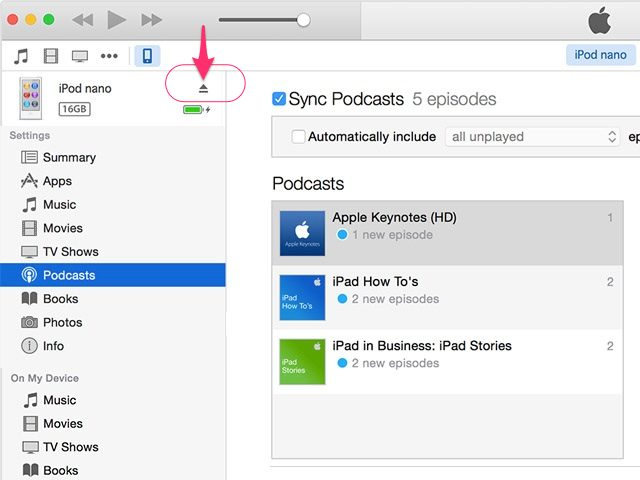 How to put podcasts on ipod-eject