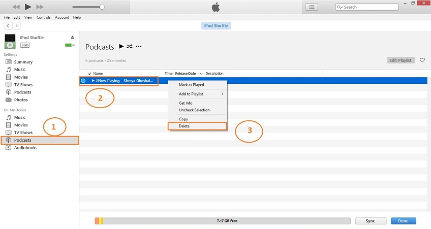 How to delete Podcast from iPod-delect podcast