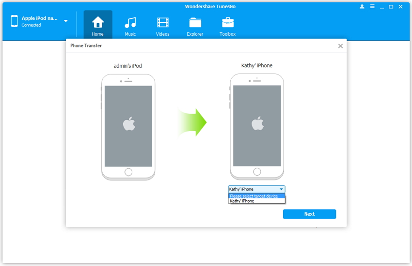 How to transfer photos from ipod touch to computer-Transfer Photos from iPod Touch to iPhone with TunesGo - export photos from iPod touch to iPhone