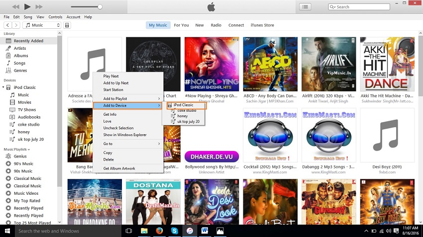 Organize  music on iPod-Add to Device