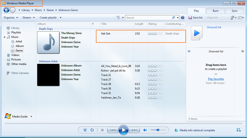 transfer music from iPod to Windows Media Player using TunesGo