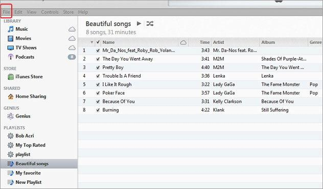 transfer playlists to iPod-use itunes