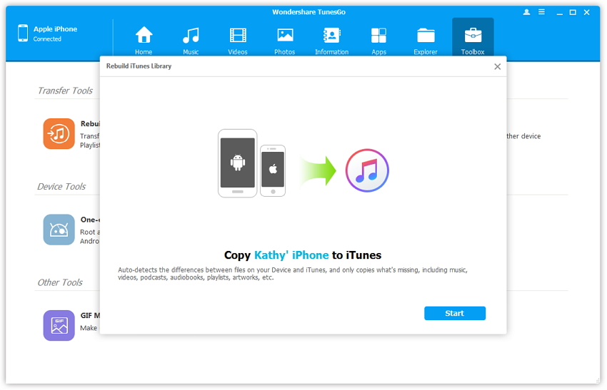 Copy Playlists from iPod, iPhone, iPad to PC - click Start