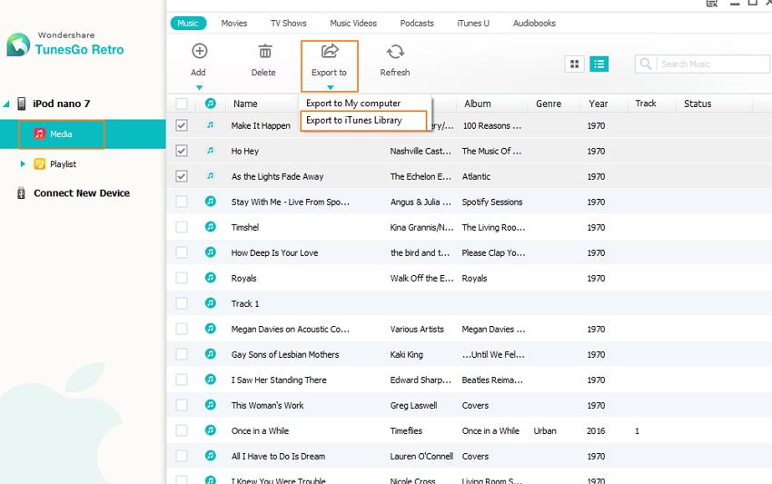 Die iTunes-Bibliothek vom iPod aus wiederherstellen - Medien
