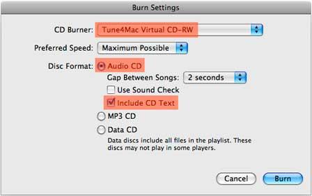 play iTunes Music on Nexus-burn-settings