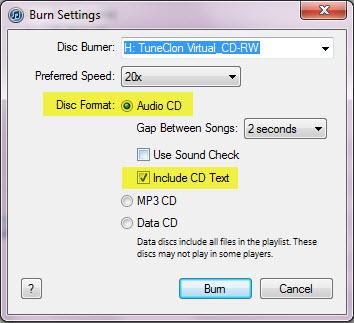 play iTunes Music on Nexus-start burning