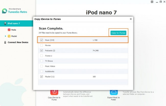 How to copy ipod music to iTunes-select the Music