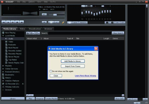 iTunes library to winamp-add media to library