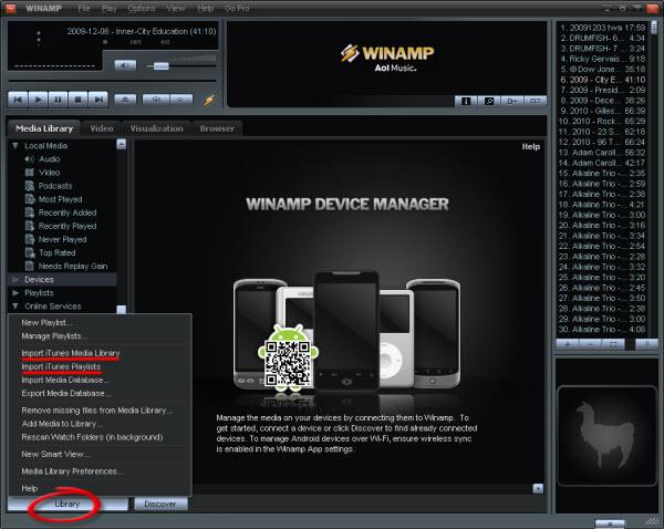 iTunes library to winamp-import itunes library