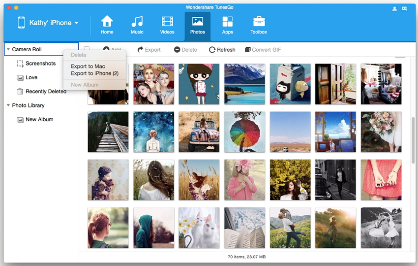 Manage Photos on iPhone with TunesGo