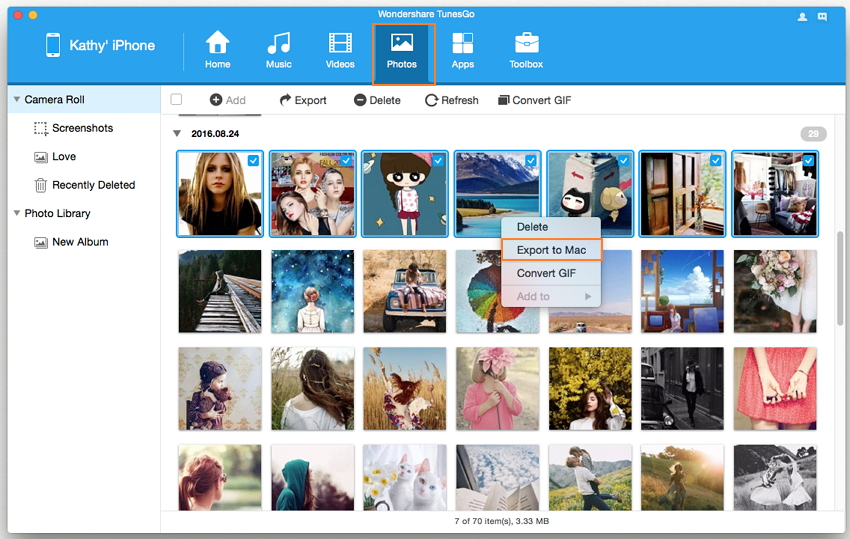 Transfer Photos from iPhone to iPhoto/Photos With Wondershare TunesGo